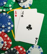 poker two aces, place for text - stock photo