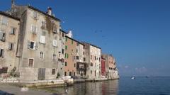 mediterranean city landscape - Rovinj, Croatia - stock footage