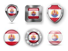 French Polynesia Flag Badges - stock illustration