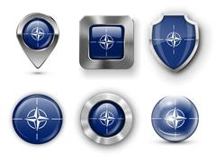 NATO Flag Badges - stock illustration