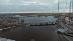 View of the historic city of Vyborg from St. Olav tower, at dawn Stock Footage