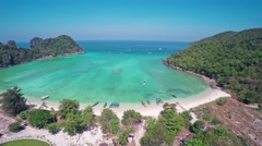 Flying over Lana bay on Phi-Phi Don island Stock Footage