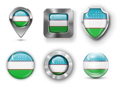 Uzbekistan Flag Badges Stock Illustration
