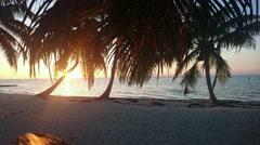 Laughing Bird Caye Sunset Timelapse Stock Footage