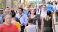 NYC crowd large group business people walk New York City commuters slow motion Footage