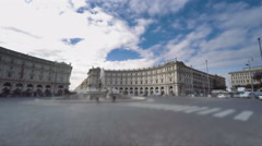 Italy Rome Piazza Republica traffic panoramic time lapse Stock Footage