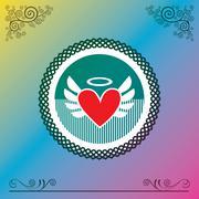 Stock Illustration of heart symbol vintage label