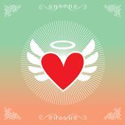 Heart symbol vintage label Stock Illustration