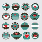 heart symbol vintage label - stock illustration