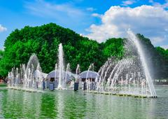 Fountain in Gorky Park on summer day - stock photo