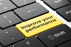 Learning concept: Improve Your Performance on computer keyboard background Stock Illustration