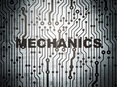 Science concept: circuit board with Mechanics - stock illustration