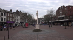 Carlisle England market square shops people city center fast 4K Stock Footage
