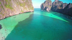 Aerial view on Maya bay, Phi Phi Leh island Stock Footage