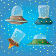cartoon Flying Saucer, Spaceship UFO Set - stock illustration