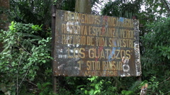 Nicaragua and Costa Rica border sign - stock footage