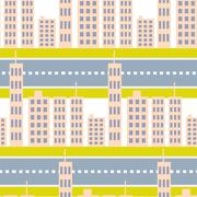 City skyscrapers and road street seamless pattern Piirros