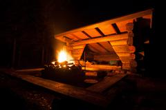 Lean-to campsite in forest - stock photo
