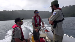 National Park rangers on boat - Cocos Island, Costa Rica Stock Footage