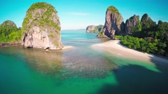 Aerial view on tropical beach and rocks, Thailand Stock Footage