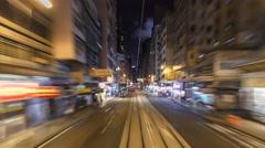 Stock Video Footage of View from double-decker tram on street of HK timelapse hyperlapse
