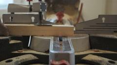 Closeup Carpenter Cutting Plank Wood by Circular Saw Stock Footage