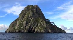 Small tropical island, cliff - Isla del Coco, Cocos Island, Costa Rica Stock Footage