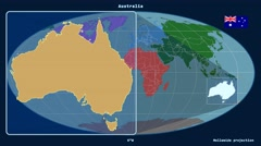 Stock Video Footage of Australia - 3D tube zoom (Mollweide projection). Continents