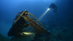 lifeboat of Umbria shipwreck with scuba diver - Sudan - stock footage