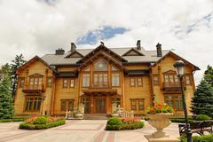 Novi Petrivtsi, Ukraine - May 15 , 2015 Mezhigirya residence of ex-president - stock photo