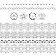 Stock Illustration of Set of vector patterned filigree hands and stylized flowers