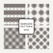 Vector set of seamless geometric patterns of mesh plates - stock illustration
