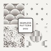 Vector set of seamless geometric patterns of lines in the style of engraving - stock illustration