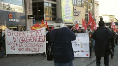 Protest against extent the 'state of emergency' and for opened borders Stock Footage