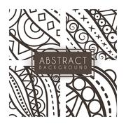 Set of four vector monochrome intricate patterns. Doodle. Zentangle - stock illustration