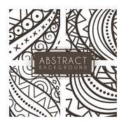 Set of four vector monochrome intricate patterns. Doodle. Zentangle Stock Illustration