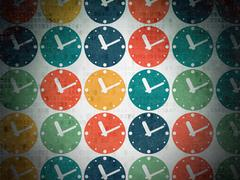Stock Illustration of Time concept: Clock icons on Digital Paper background