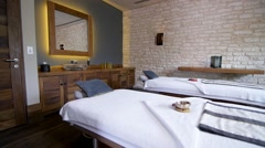Couples Massage Tables in Resort Spa Stock Footage