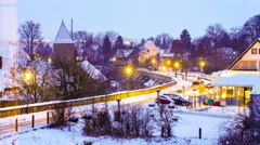 Winter night in a bavarian town Stock Footage