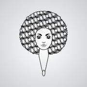 Portrait of a woman with luxuriant hair in the style of an African. Vector. The Stock Illustration