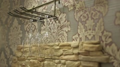 Glass on wall Stock Footage