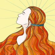Profile of a beautiful girl with long haughty intricately curled hair Stock Illustration
