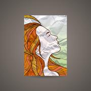 Stock Illustration of Vector design template with beautiful girl head on crumpled paper. Brochure and