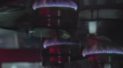 Blue flame of gas burner, POV of person feeling dizzy, carbon monoxide poisoning Stock Footage