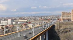 Timelapse,the view from the height on the large bridge Stock Footage