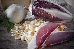 Ingredients Orecchiette Speck Chicory Stock Photos