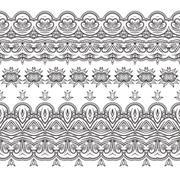 Set of vector filigree patterned brushes - stock illustration