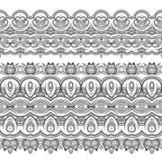 Stock Illustration of Set of vector filigree patterned brushes
