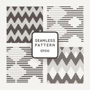 Set of vector seamless pattern with zigzags of parallel lines of varying - stock illustration