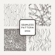 Set of vector seamless patterns: curves with beads, threads with hearts, curls Stock Illustration